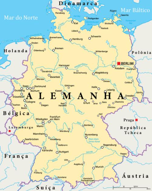 Mapa mostra localização da Alemanha, suas principais cidades e países fronteiriços