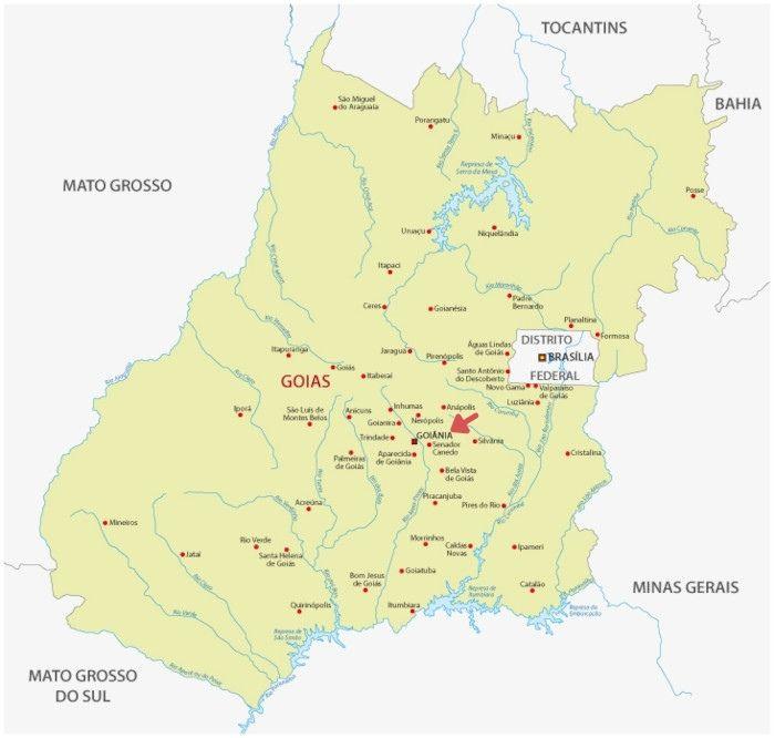 Mapa do estado de Goiânia, com destaque para a localização de Goiânia.