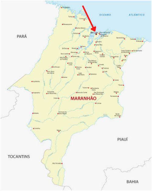 Mapa do estado do Maranhão, com destaque para a localização de São Luís.