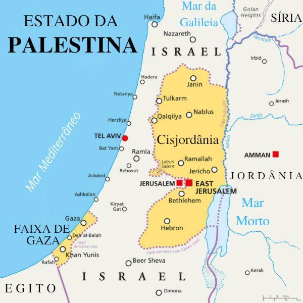 Mapa da região de Israel e Palestina.