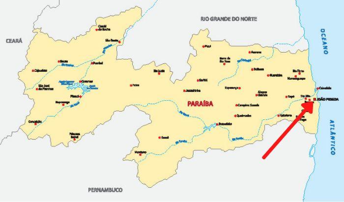 Mapa da Paraíba destacando a cidade de João Pessoa.
