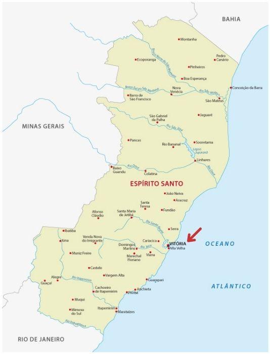 Mapa do estado do Espírito Santo, com destaque para a localização de Vitória.