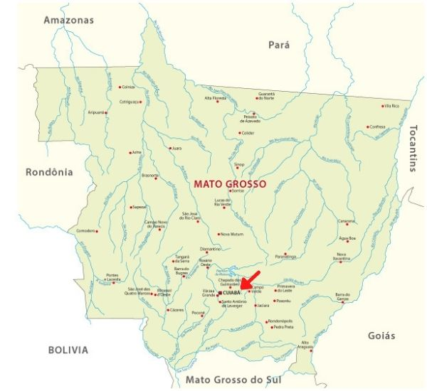 Mapa do estado do Mato Grosso, com destaque para a localização de Cuiabá.