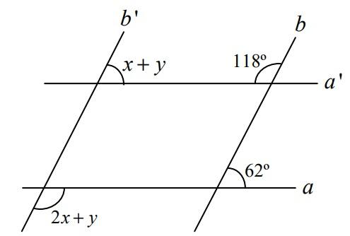 Questão com duas retas paralelas e duas retas transversais