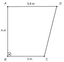 Trapézio retângulo cujas bases medem 3,8 m e 3 m, e a altura mede 4 m.
