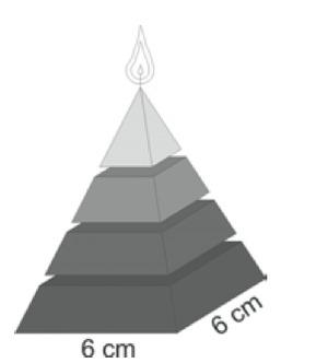 Enunciado de questão com uma vela em formato de pirâmide de base quadrada.