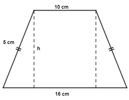 Trapézio isósceles com bases medindo 10 cm e 16 cm e lados medindo 5 cm.