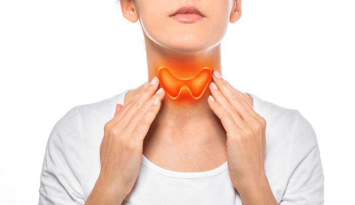 Representação da glândula da tireoide aumentada no corpo humano.