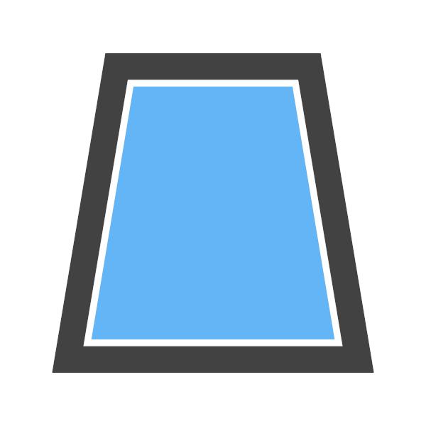 A área do trapézio é a soma das bases vezes a altura dividido por dois.