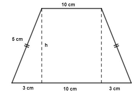 Trapézio isósceles com bases medindo 10 cm e 16 cm e lados medindo 5 cm, formando triângulos retângulos.
