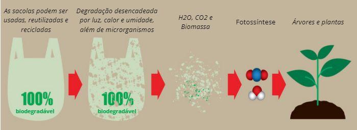 Esquema simplificado de biodegradação de uma sacola plástica.