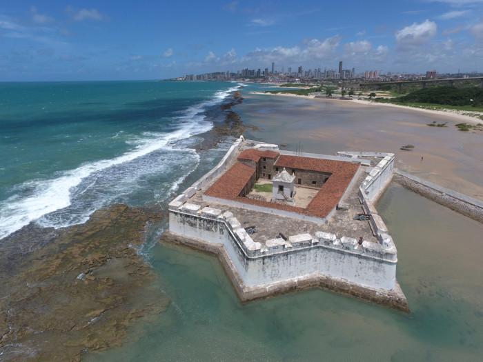 Vista aérea da Fortaleza dos Reis Magos.