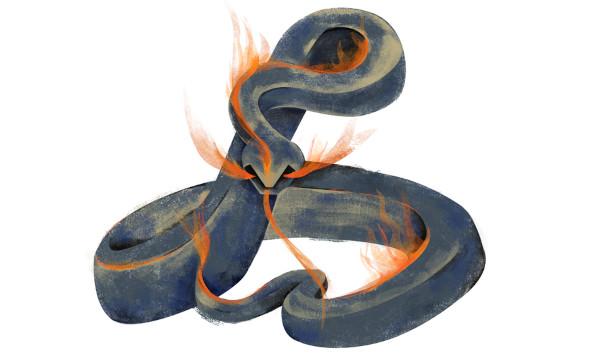 O boitatá é um personagem do folclore que tem formato de uma cobra de fogo que expele suas chamas contra quem quer destruir as florestas e os campos.