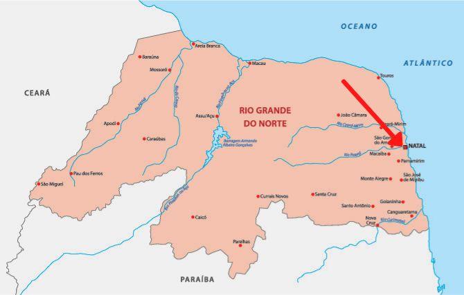 Mapa do Rio Grande do Norte com destaque para Natal.