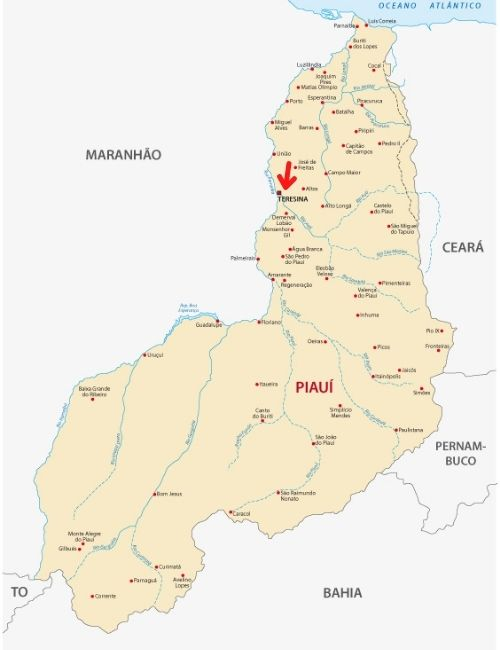 Mapa do Piauí, com destaque para a localização de Teresina.