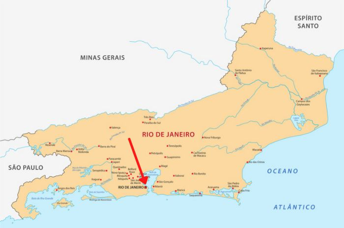Mapa do Rio de Janeiro com destaque para a sua capital.