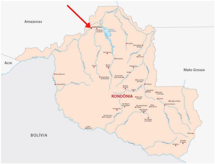Mapa de Rondônia com destaque para Porto Velho.
