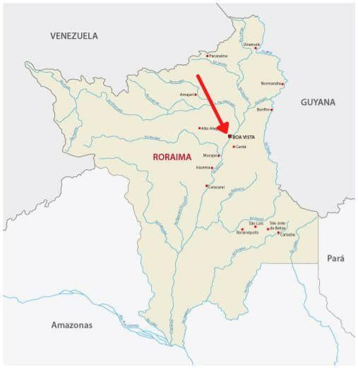 Mapa de Roraima com destaque para Boa Vista.