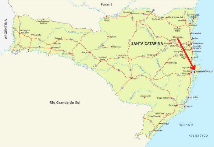 Mapa de Santa Catarina com destaque para Florianópolis.