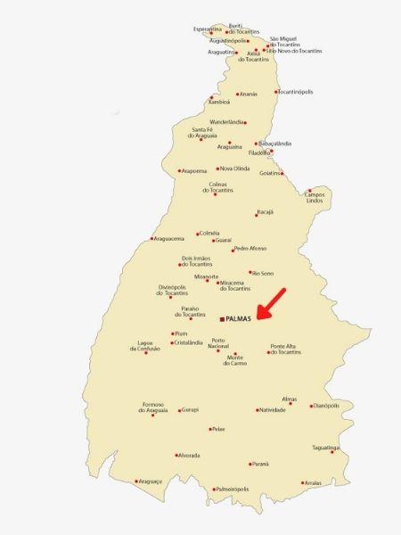 Mapa do Tocantins com destaque para Palmas.