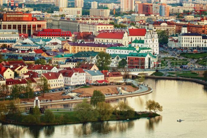 Imagem aérea de Minsk, Belarus.