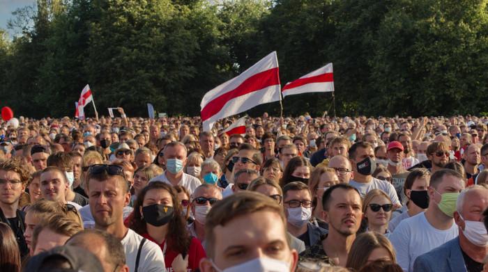 Imagem do protesto em Belarus