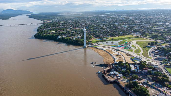Vista aérea do rio Branco em Boa Vista.