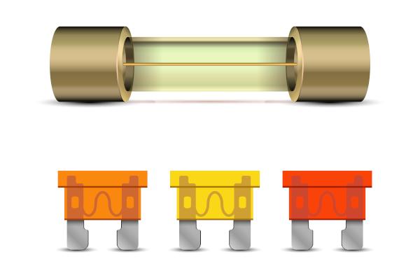 Diferentes tipos de fusíveis utilizados em instalações elétricas.