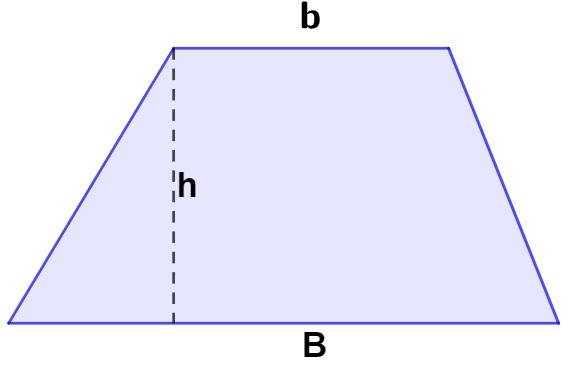 Trapézio com base maior, base menor e altura discriminadas