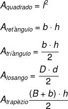 Fórmulas de área do quadrado, retângulo, triângulo, losango e trapézio.