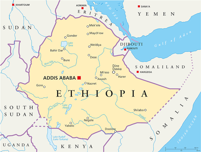 Mapa da Etiópia.