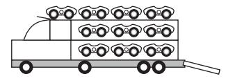 Ilustração em preto e branco do caminhão.