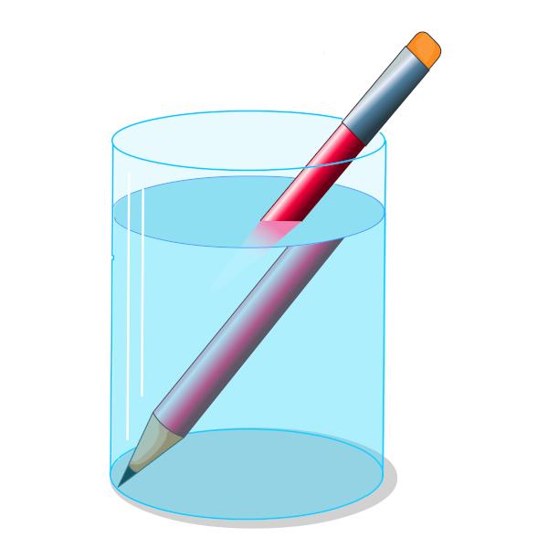 Lápis em diferentes meios (ar e água) sofrendo refração.