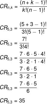 Resolução de questão por meio da fórmula da combinação com repetição de 5 opções tomadas de 3 em 3.