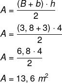 Cálculo de área de trapézio de base com 3,8 metros, base menor com 3 metros e altura de 4 metros.
