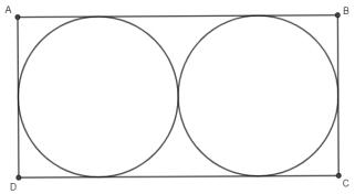 Representação de terreno retangular com dois irrigadores no formato de círculos.
