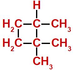 Fórmula estrutural do 1,1,2-trimetil-ciclobutano