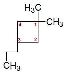 Numeração da cadeia do 1,1-dimetil-3-propil-ciclobutano