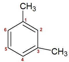 Numeração da cadeia do 1,3-dimetil-benzeno