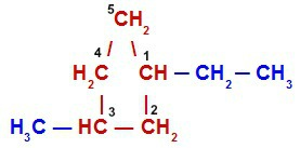 Etil e metil em um ciclano