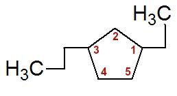 Numeração da cadeia do 1-etil-3-propil-ciclopentano