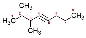 Numeração da cadeia do 2,3-dimetil-oct-4-ino