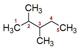 Numeração da cadeia do 2,3-dimetil-pentano