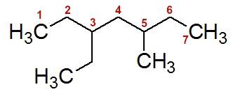 Numeração da cadeia do 3-etil-5-metil-heptano