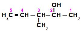 Fórmula estrutural do 3-metil-pent-4-en-2-ol