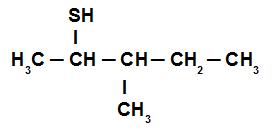 Fórmula estrutural do 3-metil-pentan-2-tiol
