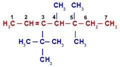 Alceno com quatro ramificações