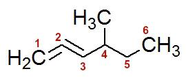 Numeração da cadeia do 4-metil- hexa-1,2-dieno