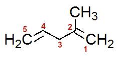 Numeração da cadeia do 4-metil- penta-1,4-dieno
