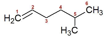 Numeração da cadeia do 5-metil-hex-1-eno